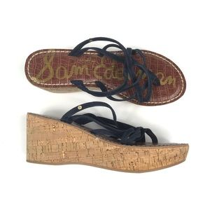 Sam Edelman Cork Platform Strappy Sandals Blue